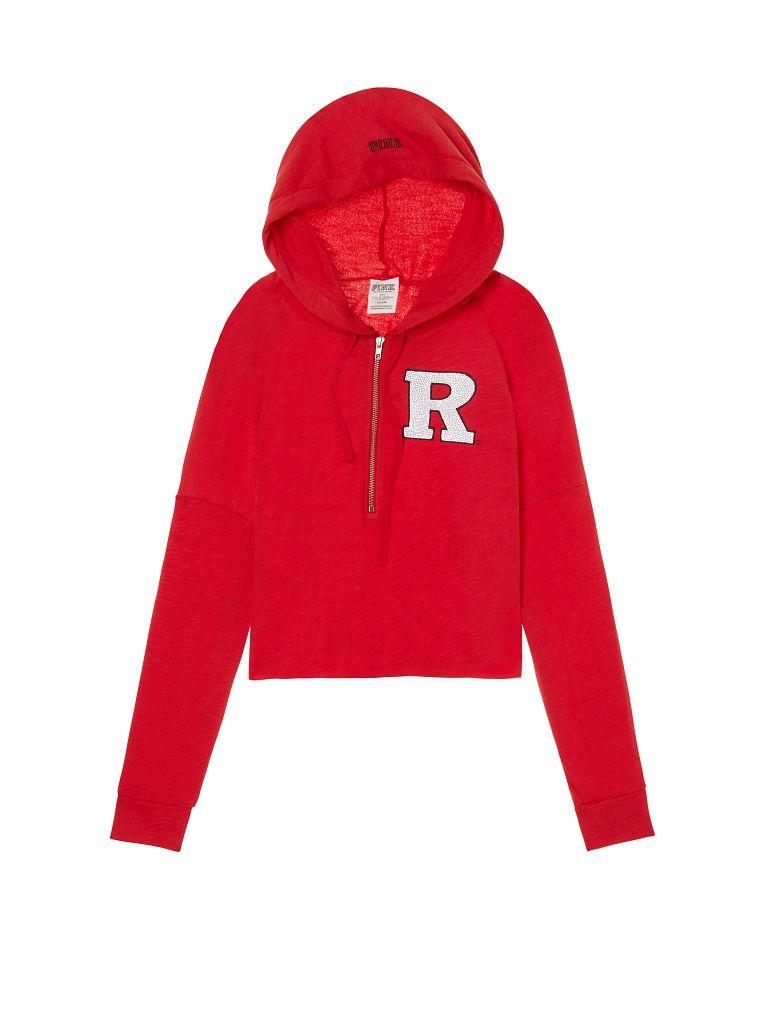 a94f398c43b3b Rutgers University Varsity Cropped Half-Zip Hoodie - PINK ...