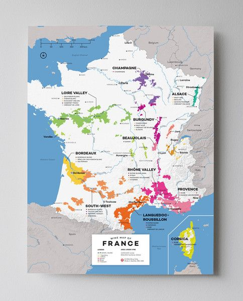 Wine map of France. Map is 12x16 and printed on spill and tear resistant paper #wine #map #cartography #modern #design #wallart #poster #blue #small