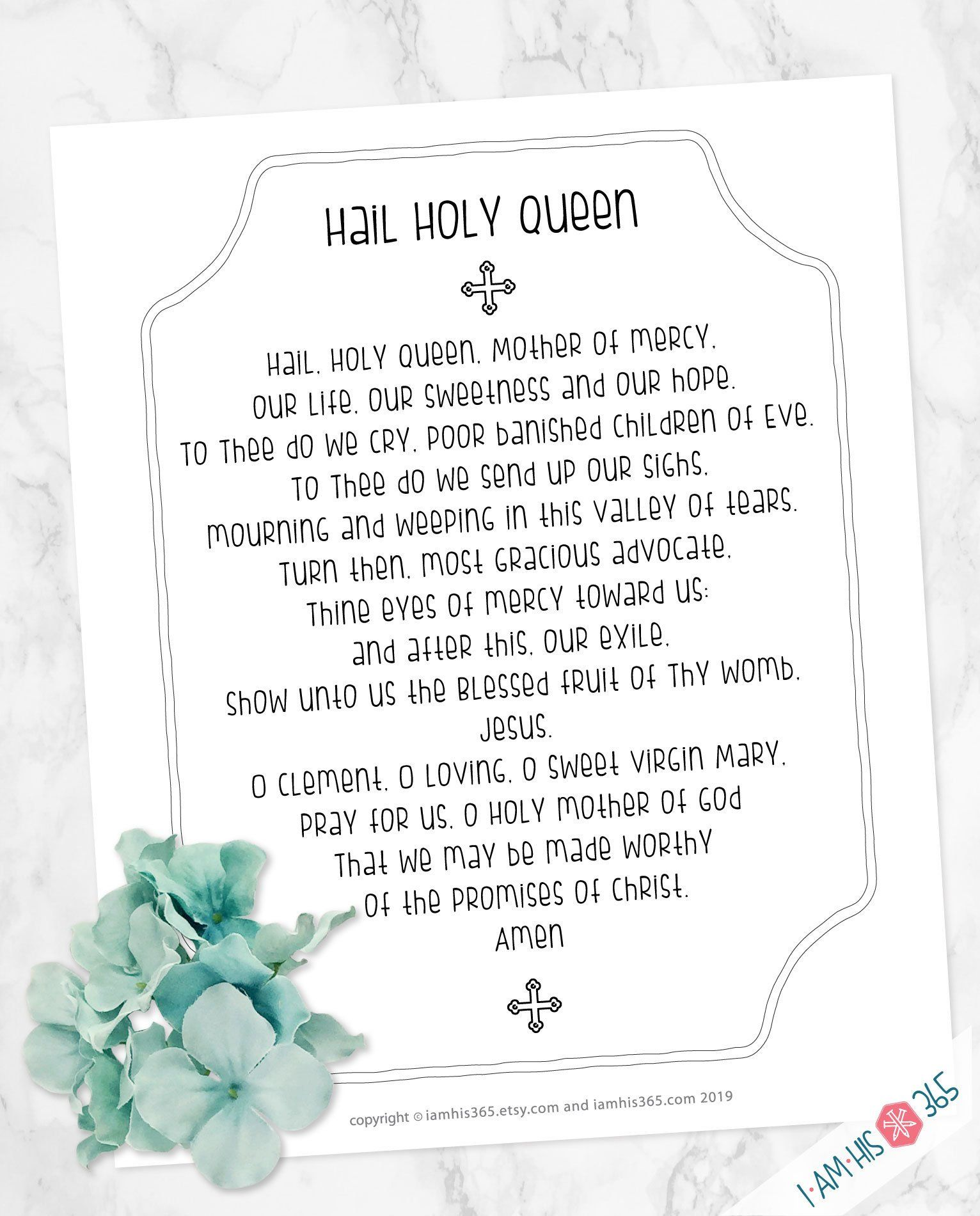 Hail Holy Queen Prayer Print