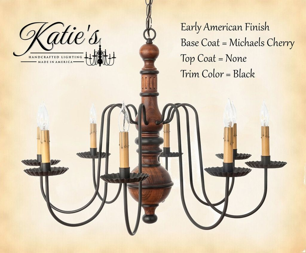 Katies handcrafted lighting hamilton wood chandelier pictured in katies handcrafted lighting hamilton wood chandelier pictured in early american finish base coat color mozeypictures Gallery