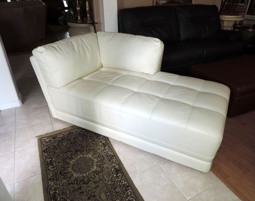 Macy's Traverso Modern White Leather Chaise Lounge*WE SHIP ...