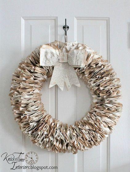 22 corona de navidad con páginas de libros | Coronas y Guirnaldas de ...