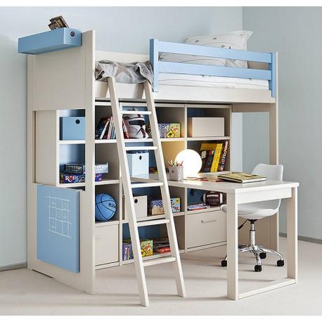 Litera con escritorio y librería incorporados