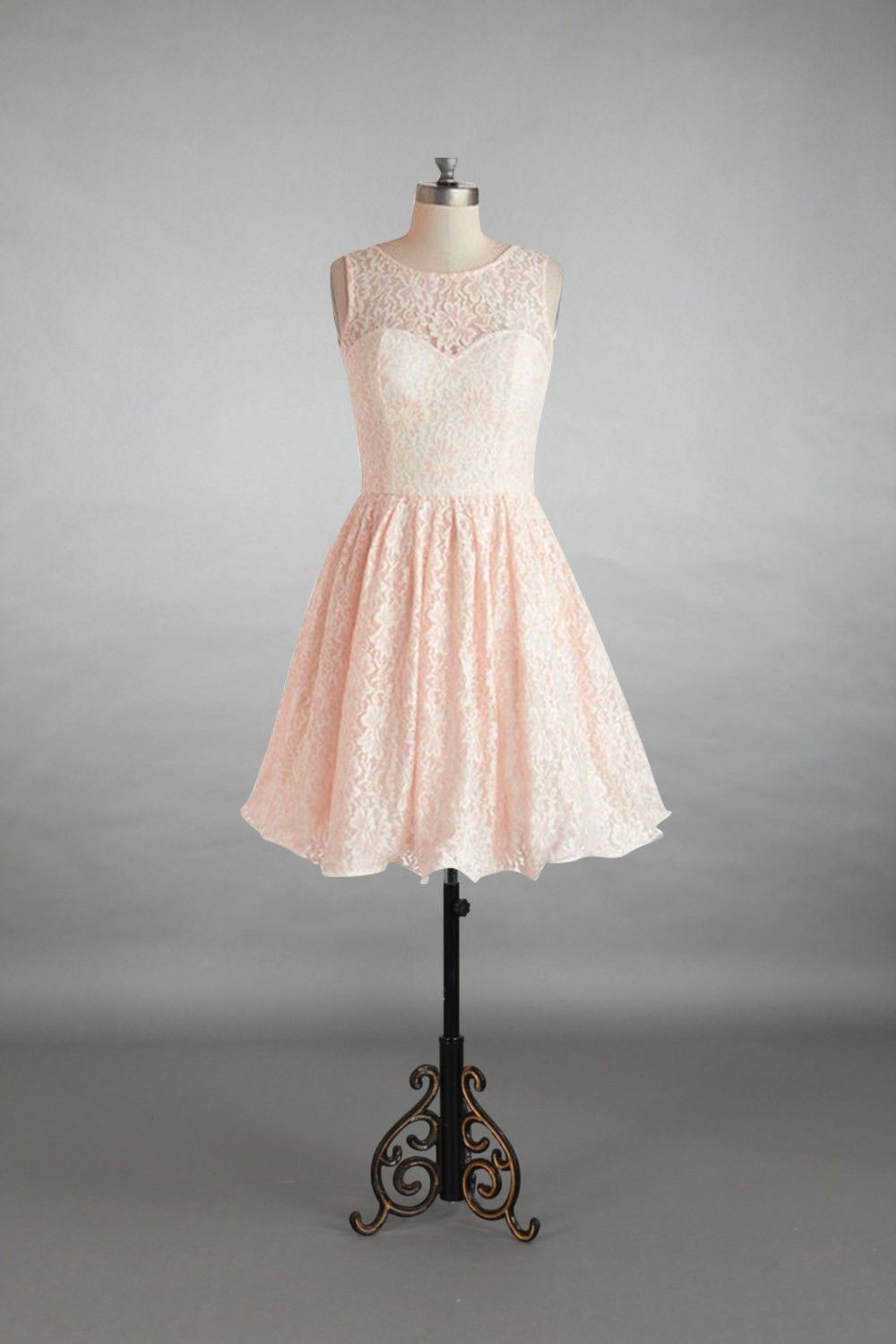 Scoop sweetheart pearl pink lace short bridesmaid dress lace