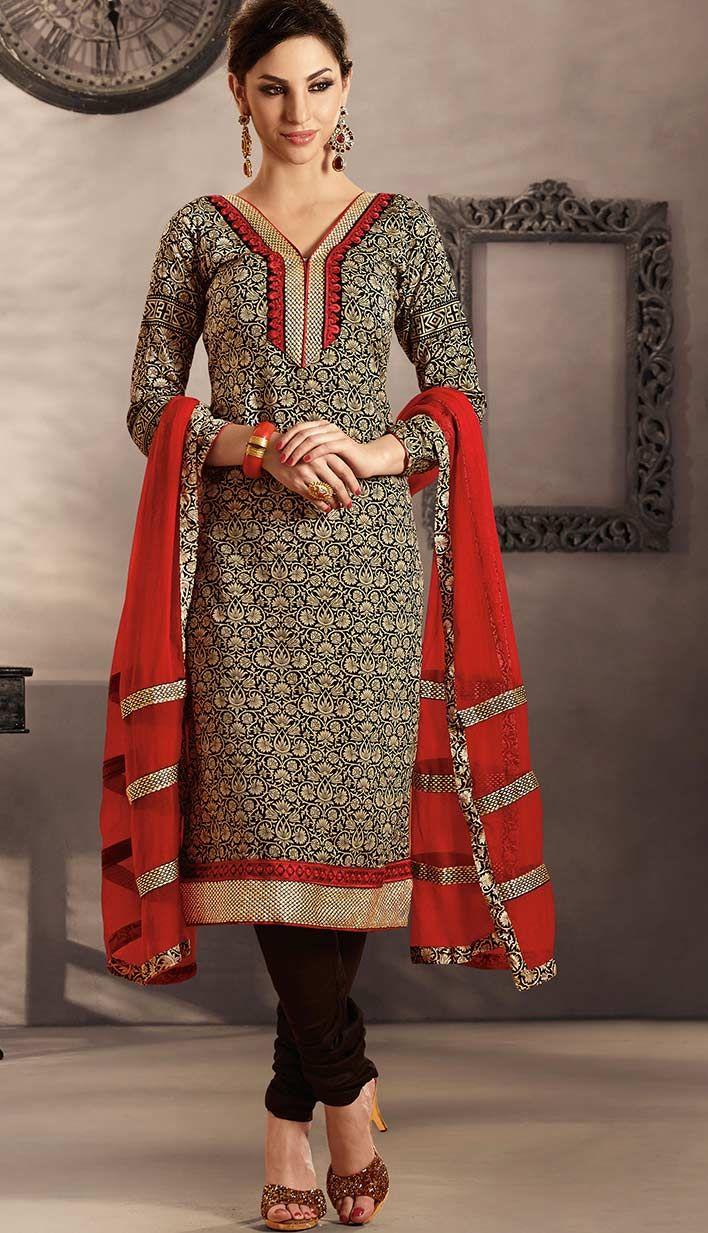Efello Online Salwar Kameez Sarees Indian Designer: Beautiful Indian Black Cotton Casual Churidar Kameez