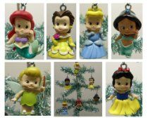 Toddler Baby Princess 6 Piece Holiday Christmas Ornament Set Featuring Tinker Bell, Snow White, Belle, Jasmine, Cinderella, and Ariel