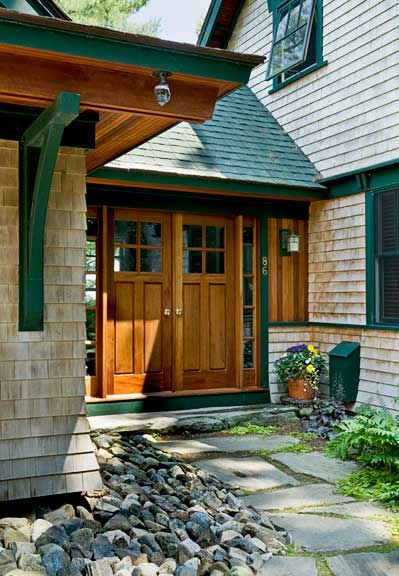 Green Asphalt Shingles With Wood Shingle Siding Build