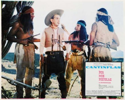 Cantinflas captured by Indians in western U.S., Around the World in 80 Days.