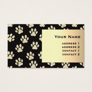 pet paw prints golden girly pattern business card