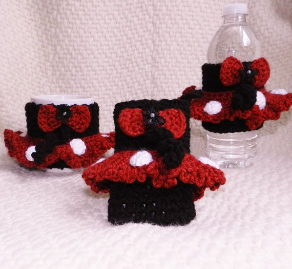 EXCLUSIVE LINE Hand Crochet Minnie Mouse cozies by picoloknitting, $60.00