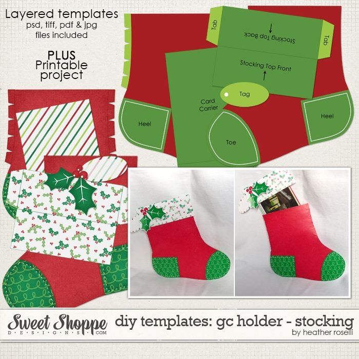 Diy Templates Gift Card Holder Stocking By Heather Roselli Christmas Card Template Diy Christmas Cards Childrens Christmas Cards