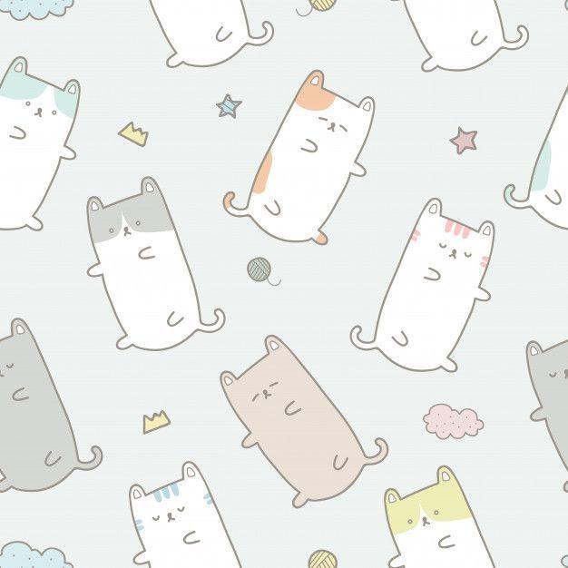 Cute Cat Sleeping Cartoon Pastel Seamless Pattern Wallpaper Cute Cat Sleeping Cat Sleeping Cat Doodle