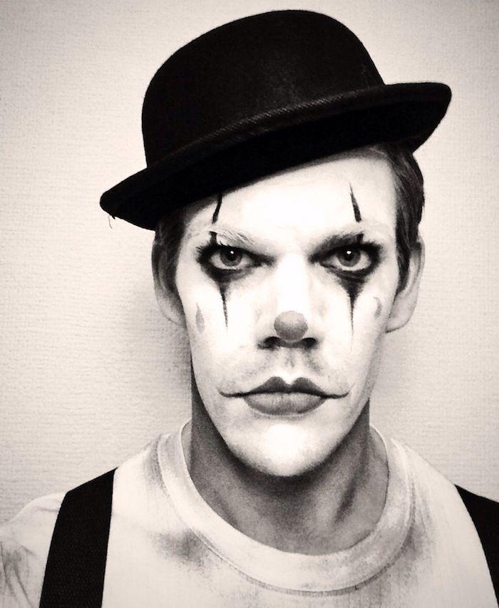 Maquillage clown \u2013 nez rouge, humour noirde clown triste noir et blanc  Circus