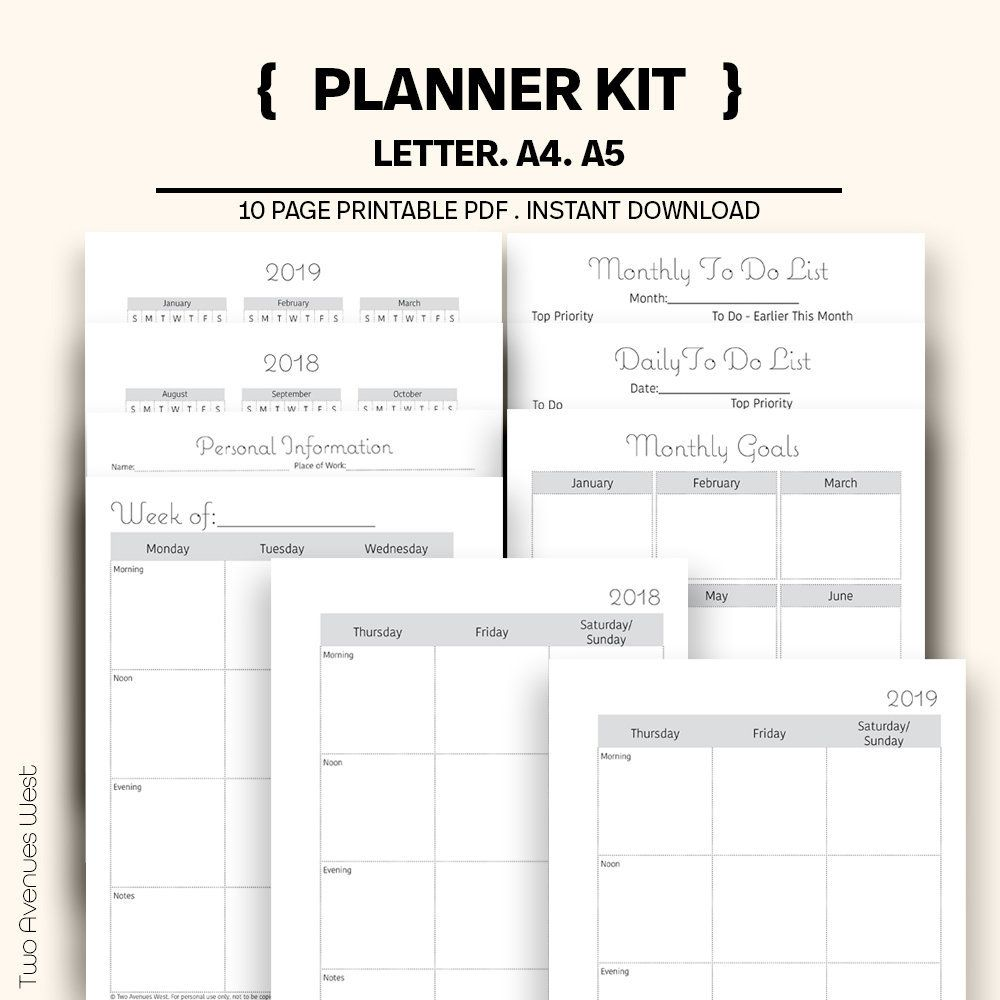 2018 Planner, 2019 Planner, Agenda, Daily Planner, Weekly Planner