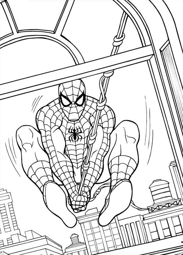 Spiderman Swinging Through Window Coloring Page Coloring Sun Spiderman Coloring Avengers Coloring Pages Coloring Pages To Print