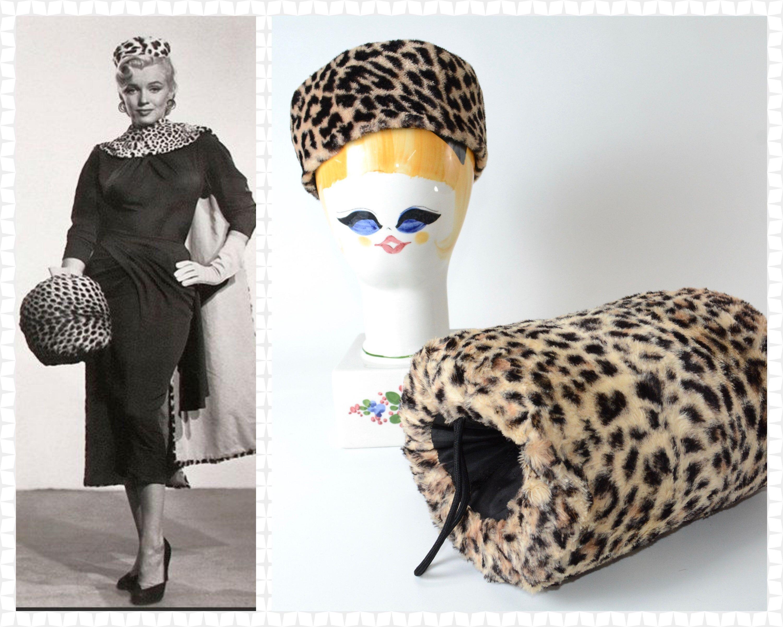 41e78439c252b 1950s - Marilyn Monroe Style Leopard Print Faux Fur Set - Hand Muff w   Carrying