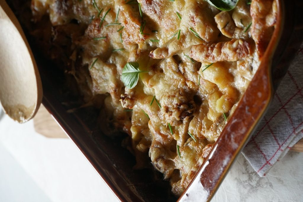 Jäger-Spätzle-Auflauf mit Champignons #oliveoils