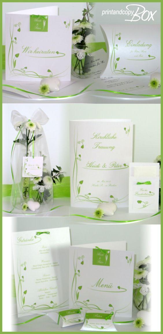 Hochzeitskarten Mit Frischen Grunen Ranken Und Herzen Hochzeit