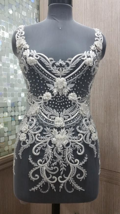 Hand Beaded And Embroidered Wedding Dress Bodice In Over 50