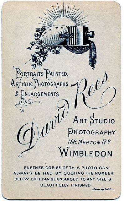 Vintage Photographic Studio Card By Delicious Industries