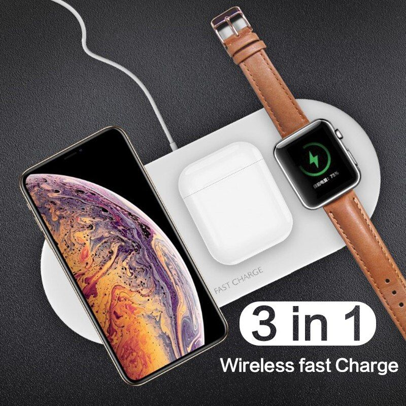 Fast Wireless Charger For Iphone 11 Pro X 8 Plus 3 In 1 Qi Wireless Charging Pad For Airpods For Apple Wa In 2020 Wireless Charger Apple Watch Iphone Apple Watch Phone