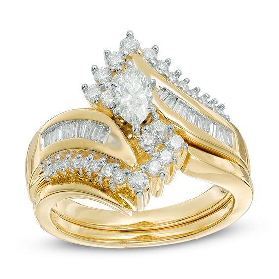 14k Real White Gold 3 Ct  Marquise Cut Diamond Bridal Band Engagement Ring Set