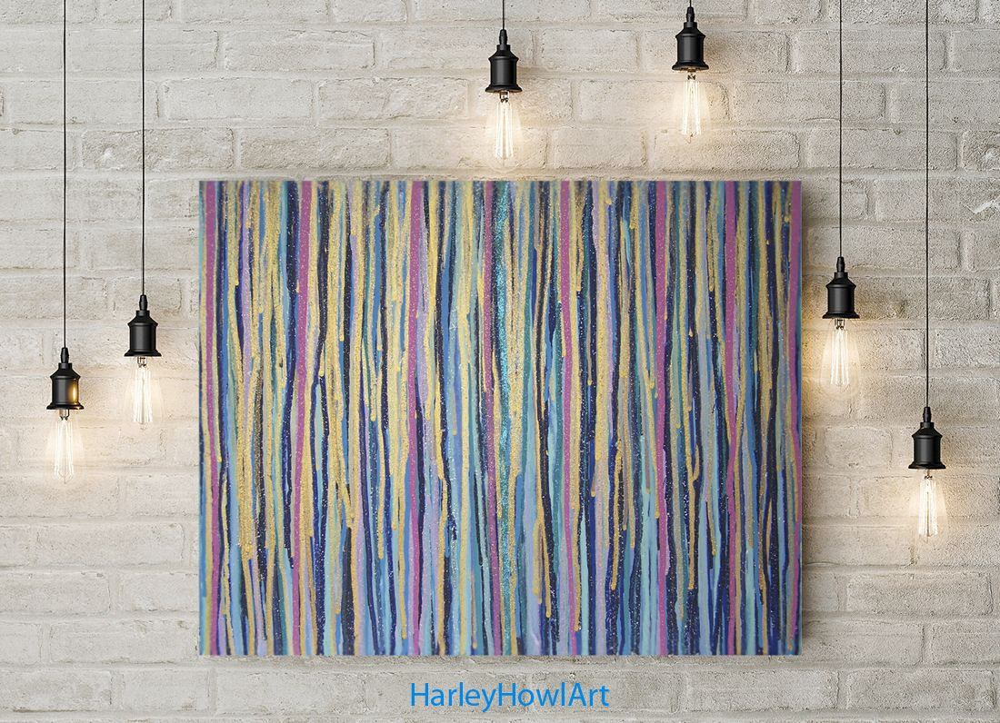 Golden Blue Rain Bright Abstract Multicolor Wall Art Colorful Drip Stripes Artwork Hand Made Original Painting On Canvas Striped Artwork Media Room Paint Colors Abstract Art Paintings Acrylics