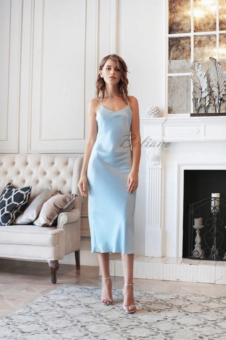 Silk Slip Dress In Baby Blue 90s Fall Trends Spring 2019 Fall Looks Ideas Outfit Fashion Blogger Street Sty Slip Bridesmaids Dresses Slip Dress Silk Slip Dress