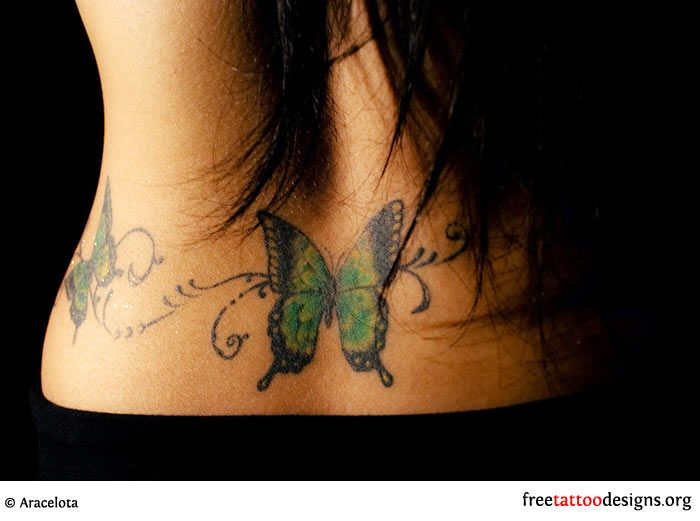 Butterfly Tattoo On A Woman S Lower Back Lower Back Tattoos
