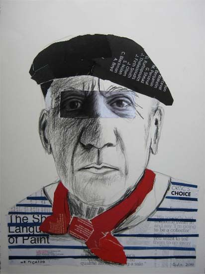 Mr Picasso.......by Emma Gale.  mixed media and collage on paper.