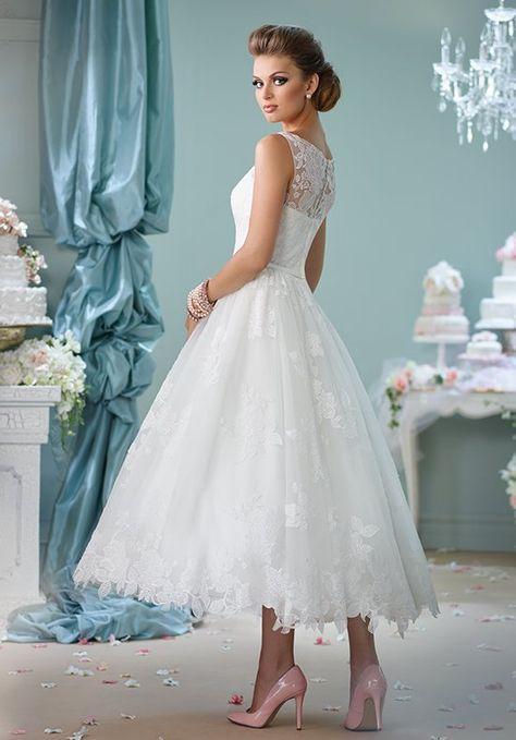 10 Stunning Tea Length Wedding Dresses For 2017 | Vintage weddings ...