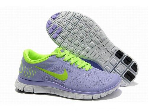 Women's Nike Free 4.0 V2 Running Shoes Lilac/Purple/Fluorescent Green - <3