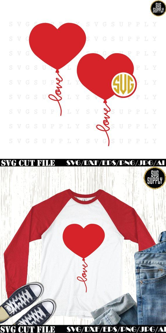 Valentines Day Love Monogram Svg Heart Balloon Layered Cut File