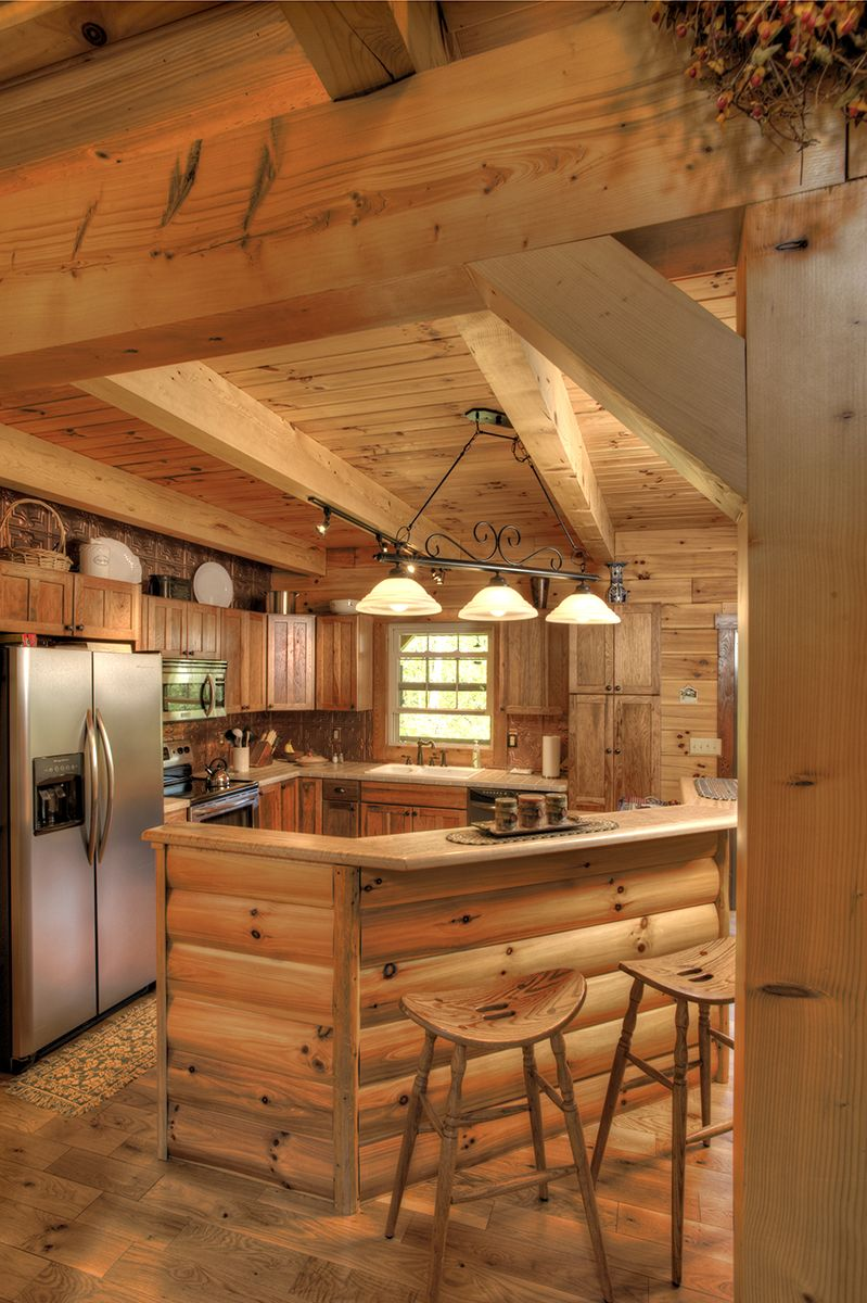 This Log Home Kitchen By Hochstetler Log Homes Features A