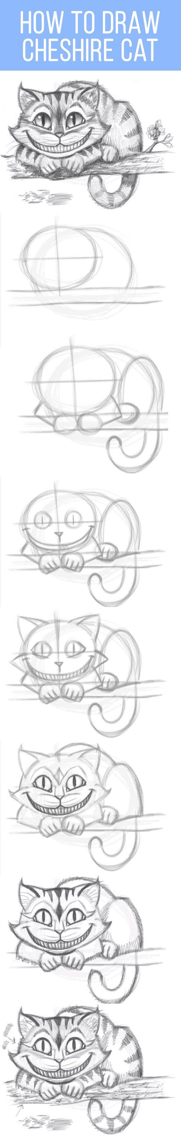 How To Draw Cheshire Cat Kreslenie Navody Pinterest Kreslit