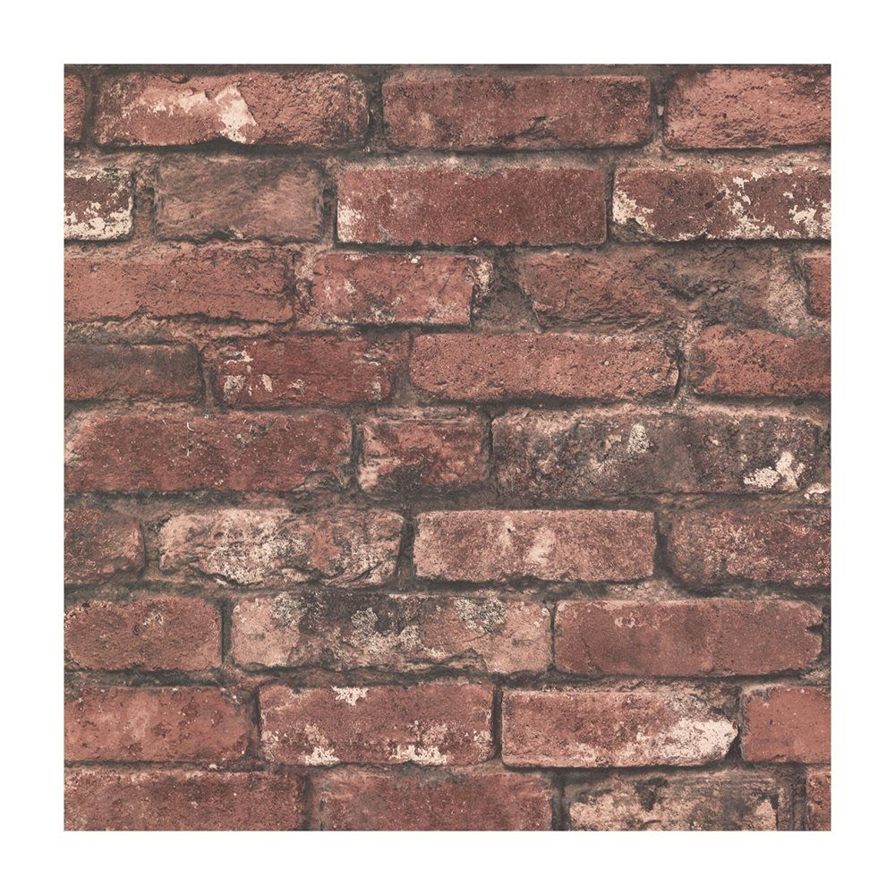 Brewster Wallcovering Brickwork Rust Exposed Brick Paste