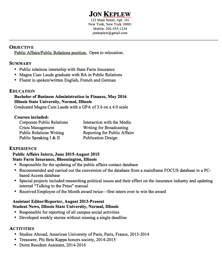 sample public relations resume    exampleresumecv org  sample