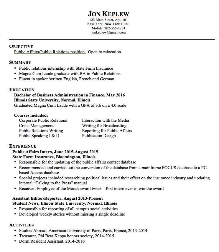 Sample Public Relations Resume http//exampleresumecv