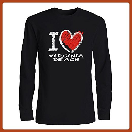 Idakoos - I love Virginia Beach chalk style - US Cities - Long Sleeve T-Shirt - Cities countries flags shirts (*Partner-Link)