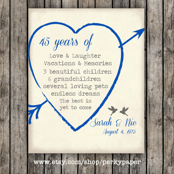 e5651d8be 45th Sapphire anniversary Anniversary Gift for parents, Anniversary ...