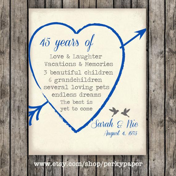 45th Sapphire Anniversary Anniversary Gift For Parents Anniversary