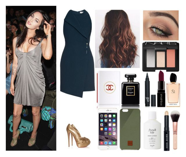 """Versace Fashion Show with Megan Fox"" by fixedserenity ❤ liked on Polyvore featuring Versace, Balenciaga, Chanel, tarte, Christian Louboutin, Native Union, NARS Cosmetics, Smashbox, Giorgio Armani and Fresh"