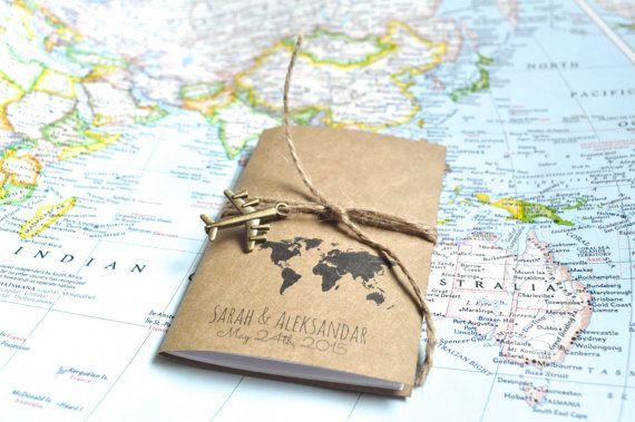 Custom wedding favor, notebooks, unique favors, travel theme, cute favors, party favors, bridal shower, favours, mini notebooks, customized