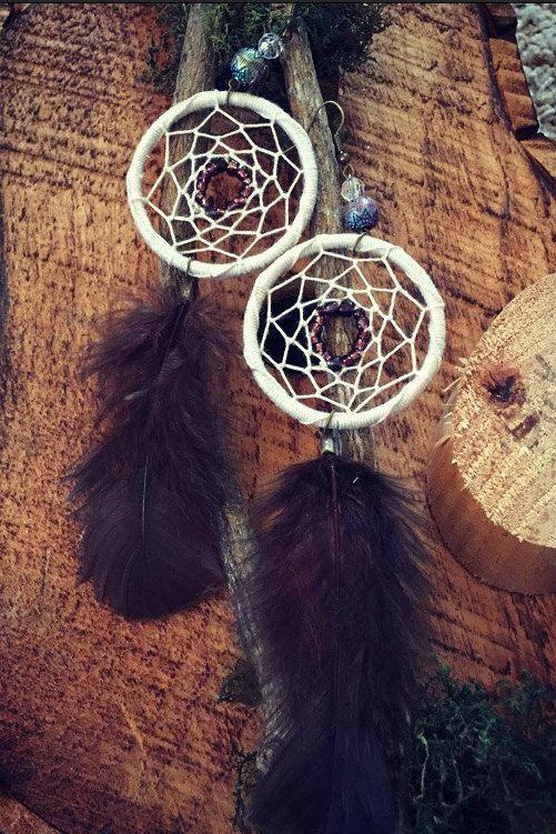 Boho dreamcatcher earrings feather by GypsyGiraffeCreation on Etsy