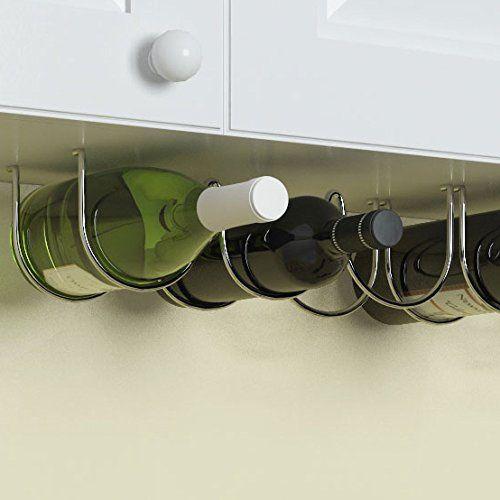 Under Cabinet Wine Rack Liquor Bottle Holder Chrome Finish Kitchen Organizer #WineRack