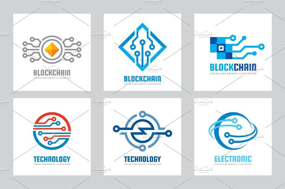 Computer Technology Vector Logo Set Electronics Logo Electronics Logo Design Logo Set