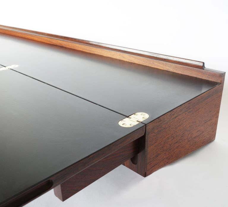 Wall-mounted Rosewood Three-drawer Flip Top Desk by Arne Hovmand ...
