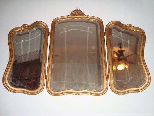 Espejo Triptico Frances Dorado