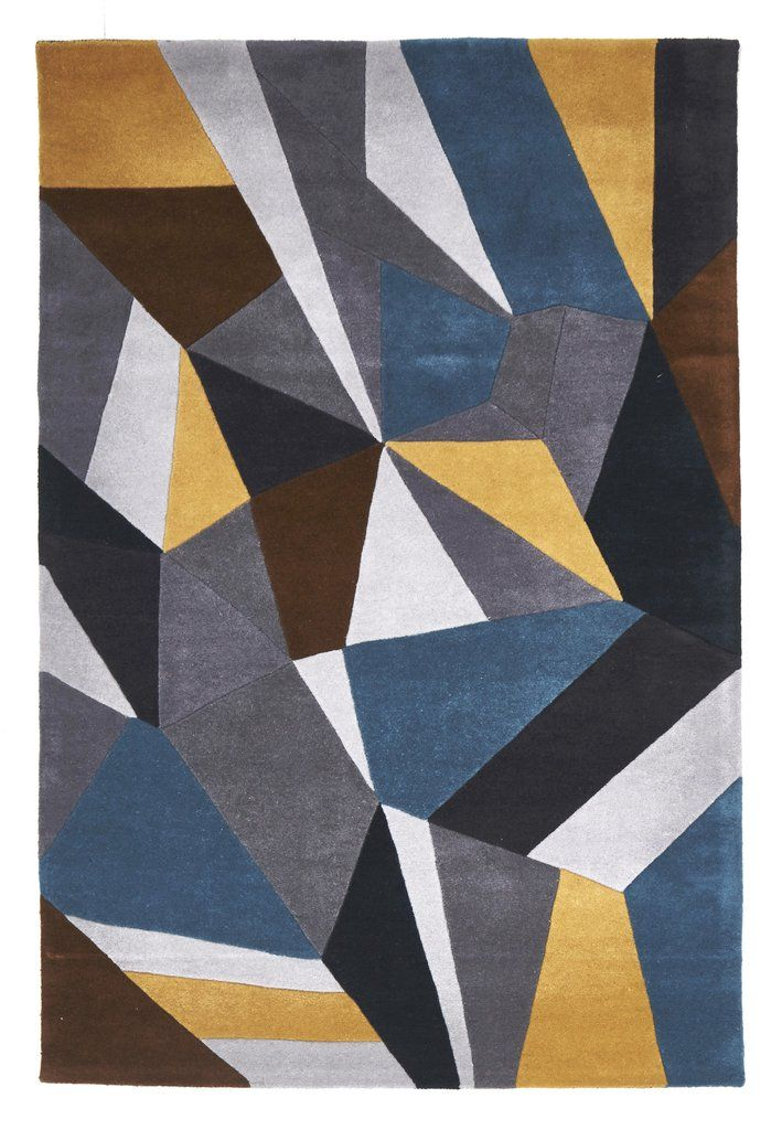 Handtufted Blue Grey Yellow Wool Rug Rug Emporium 1