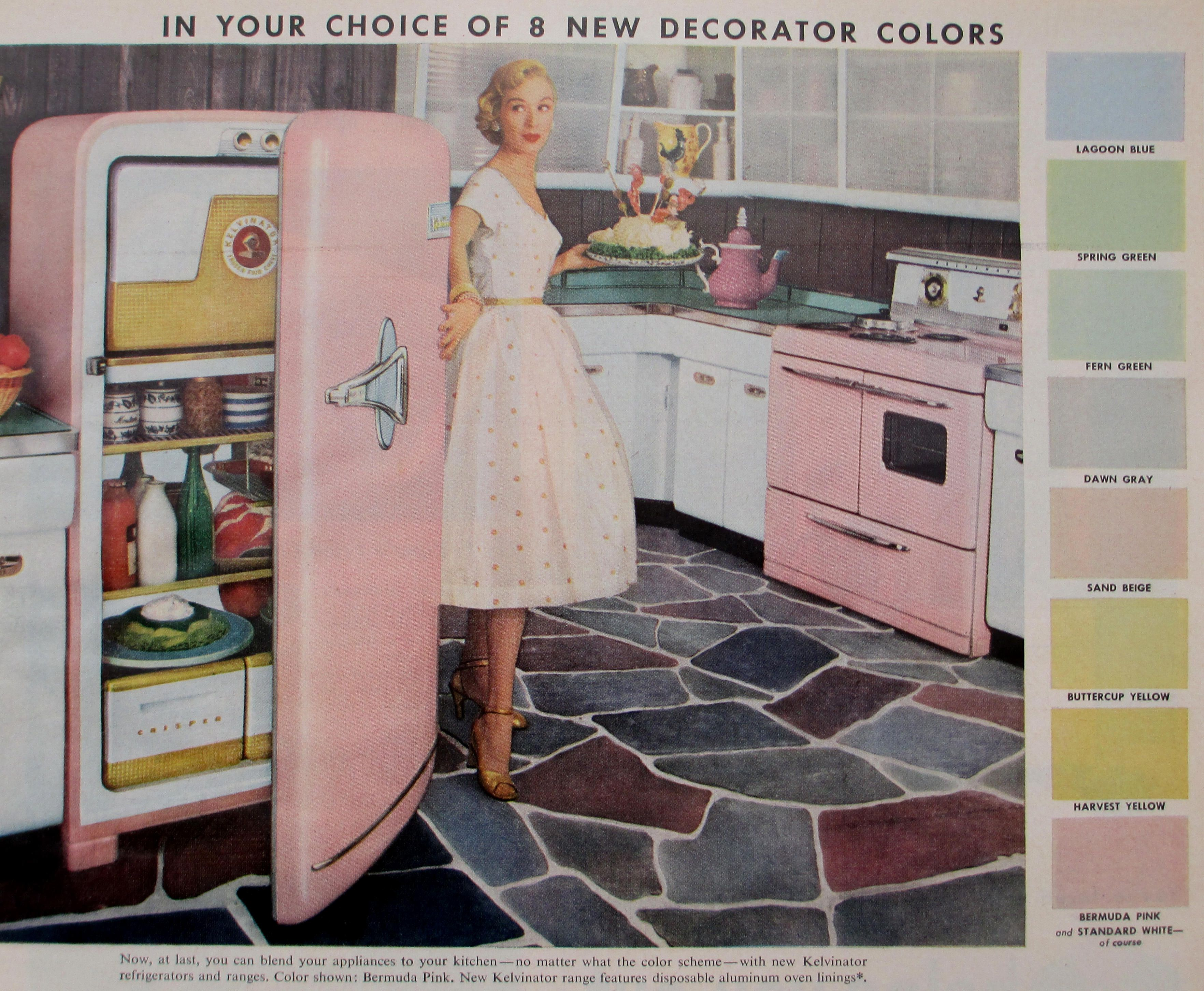 the kelvinator 1955 vintage pink refrigerator and its matching